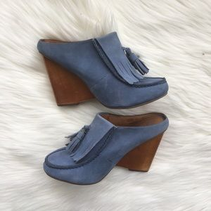 Anthropologie Lucky Penny Blue Suede Mules Size 8